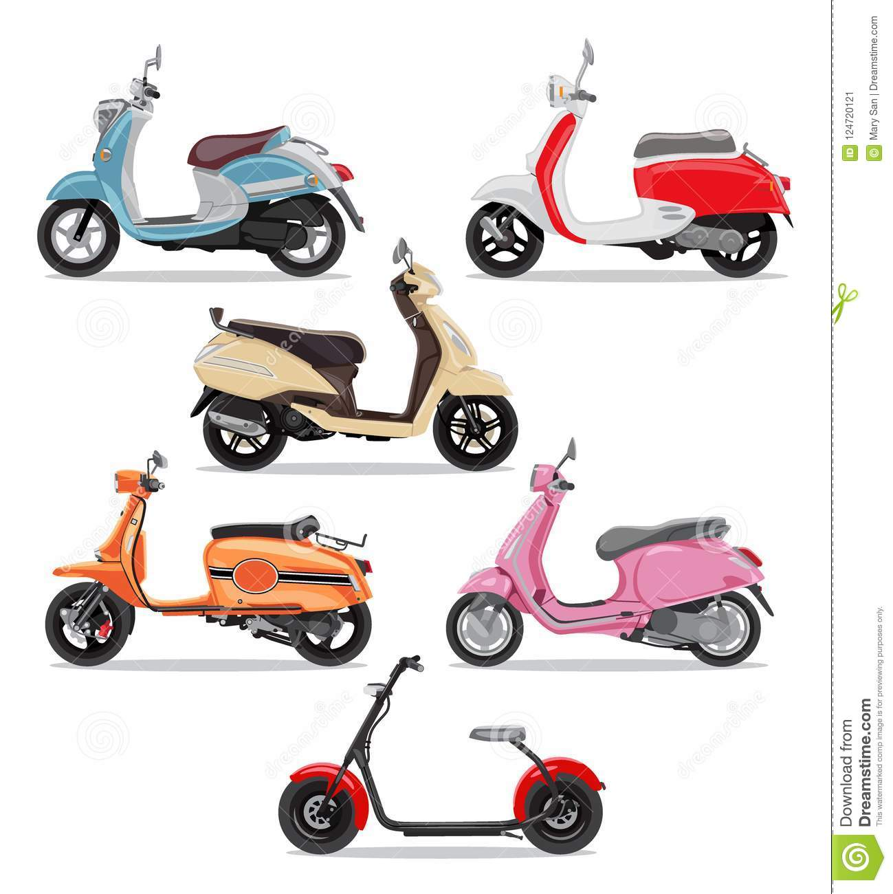 set of colorful moped in flat style side view stock vector