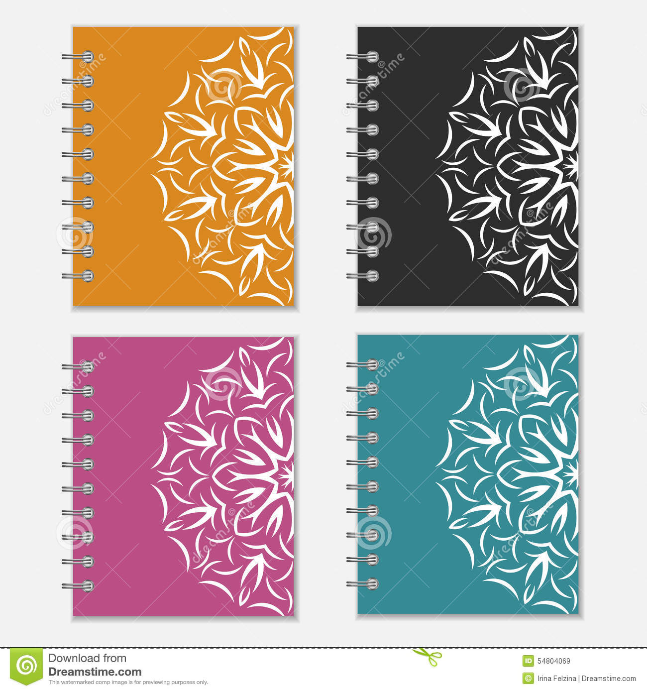 Notebook Cover Design ~ Set of colorful notebook covers with flower design stock