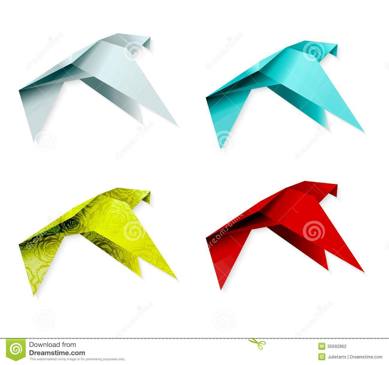 Set Of Colorful Origami Bird. EPS 10 Stock Photography ...