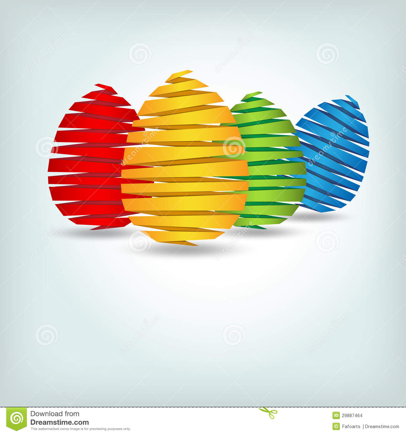 Set of colorful origami eggs - easter card.