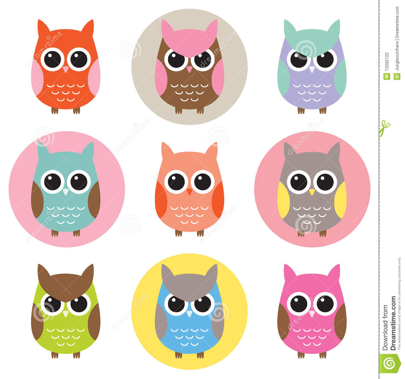 Set of colorful owl characters stock vector illustration of set of colorful owl characters voltagebd Gallery