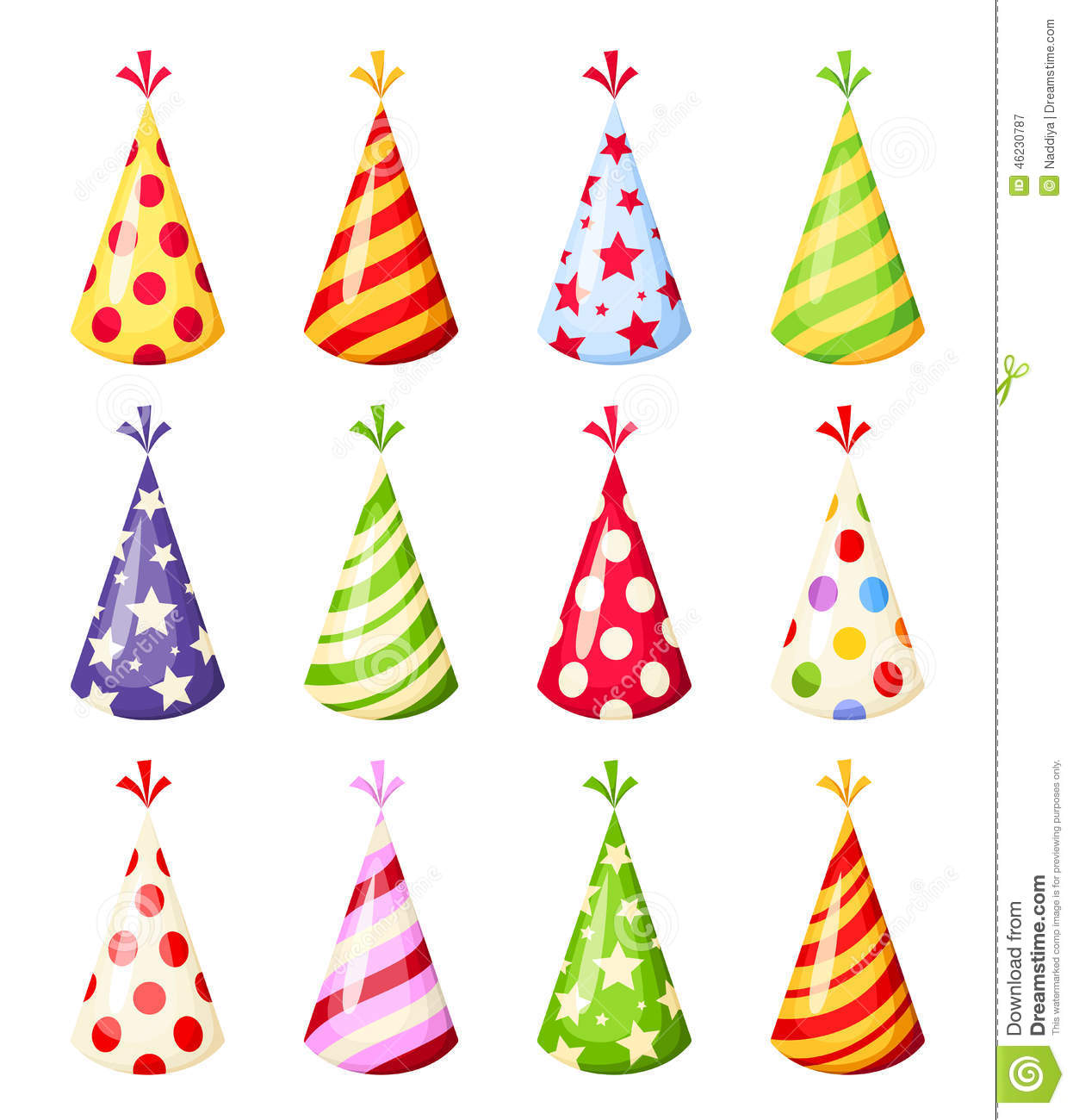 Set Of Colorful Party Hats. Vector Illustration. Stock ...