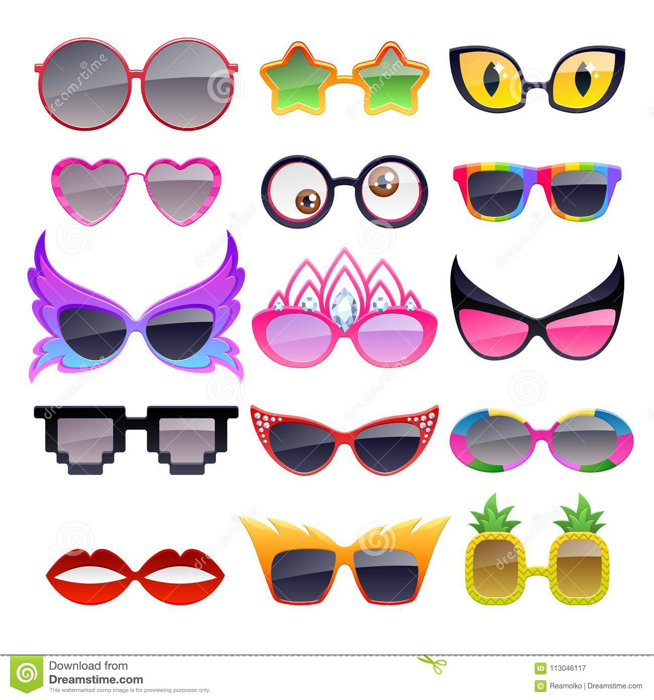 2b7428c93a3 Set of colorful party sunglasses icons. Funny fashion glasses accessories.  More similar stock illustrations