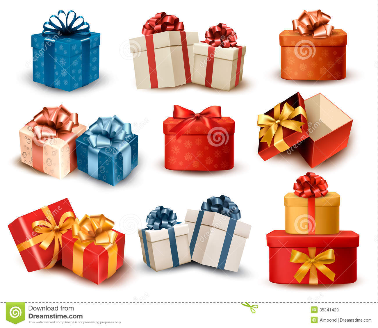 Set of colorful retro gift boxes with bows and rib stock vector royalty free stock photo negle Gallery
