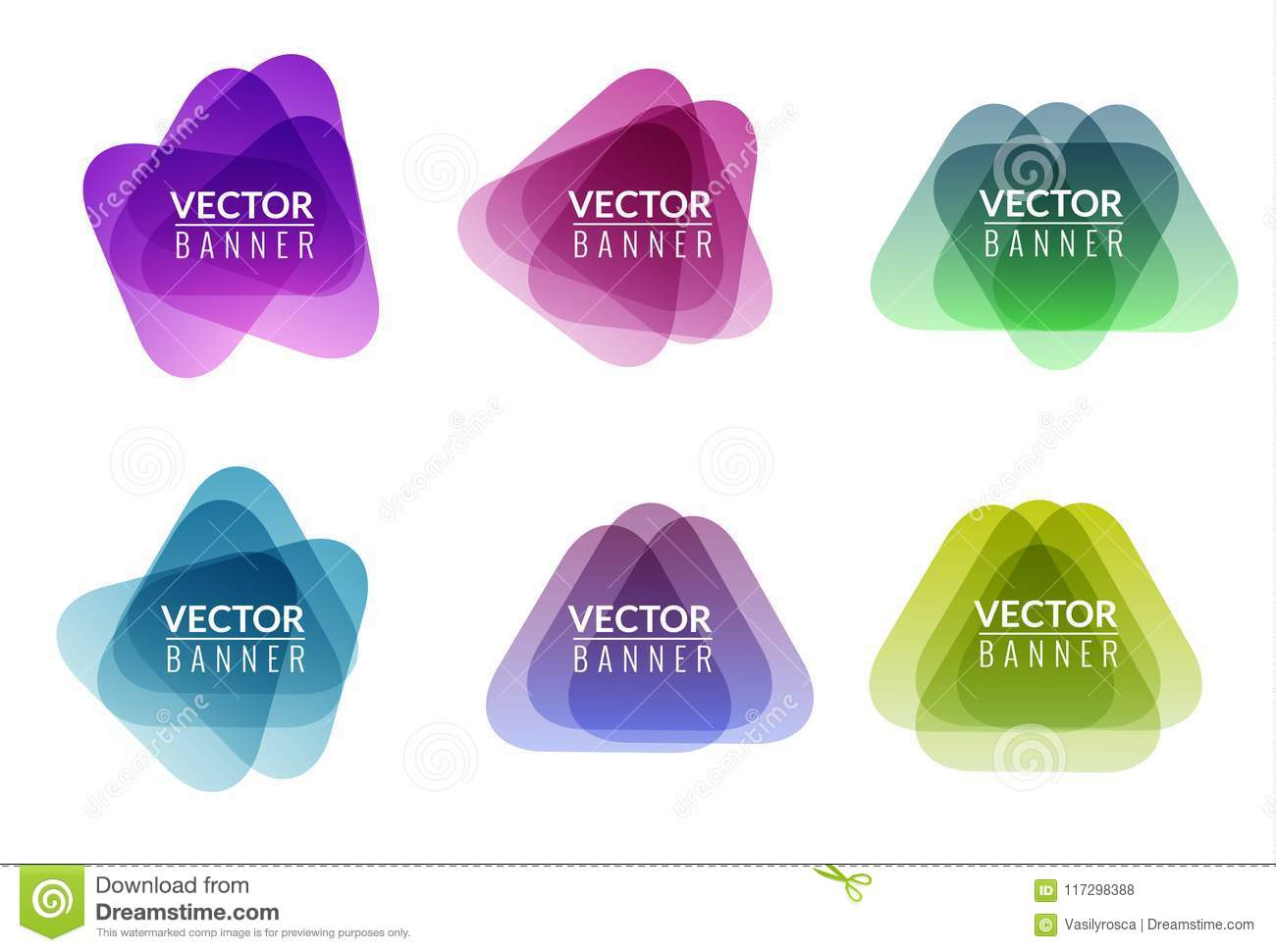 Set of colorful round abstract banners overlay shape. Graphic banners design. Label graphic fun tag concept