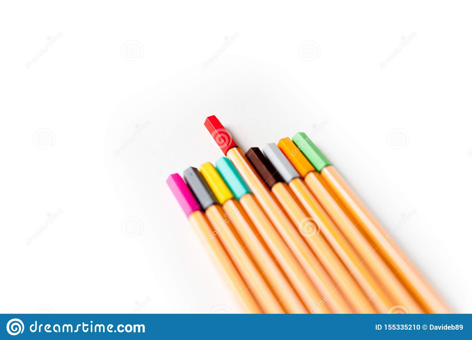 Set of colorful school markers as a symbol of education aims in fostering individuality and originality of individuals
