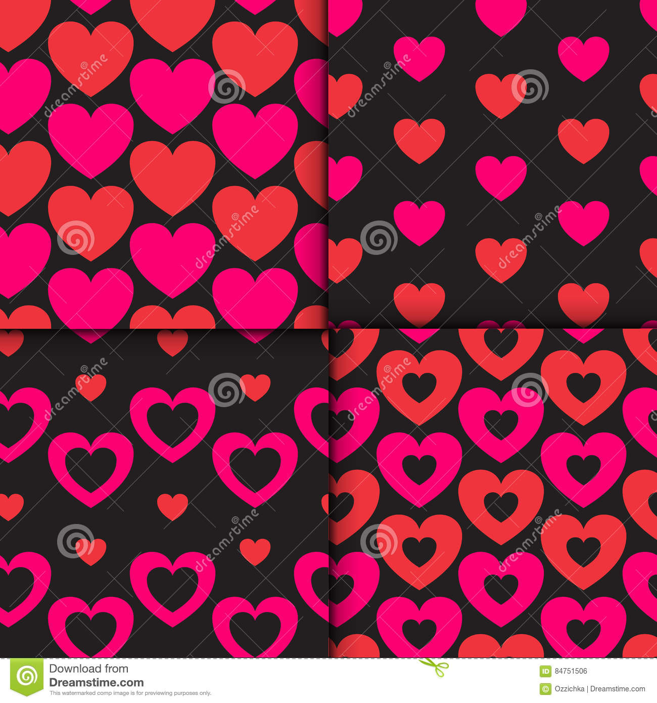 Set Of 4 Colorful Seamless Patterns With Hearts. Romantic Patterns ...