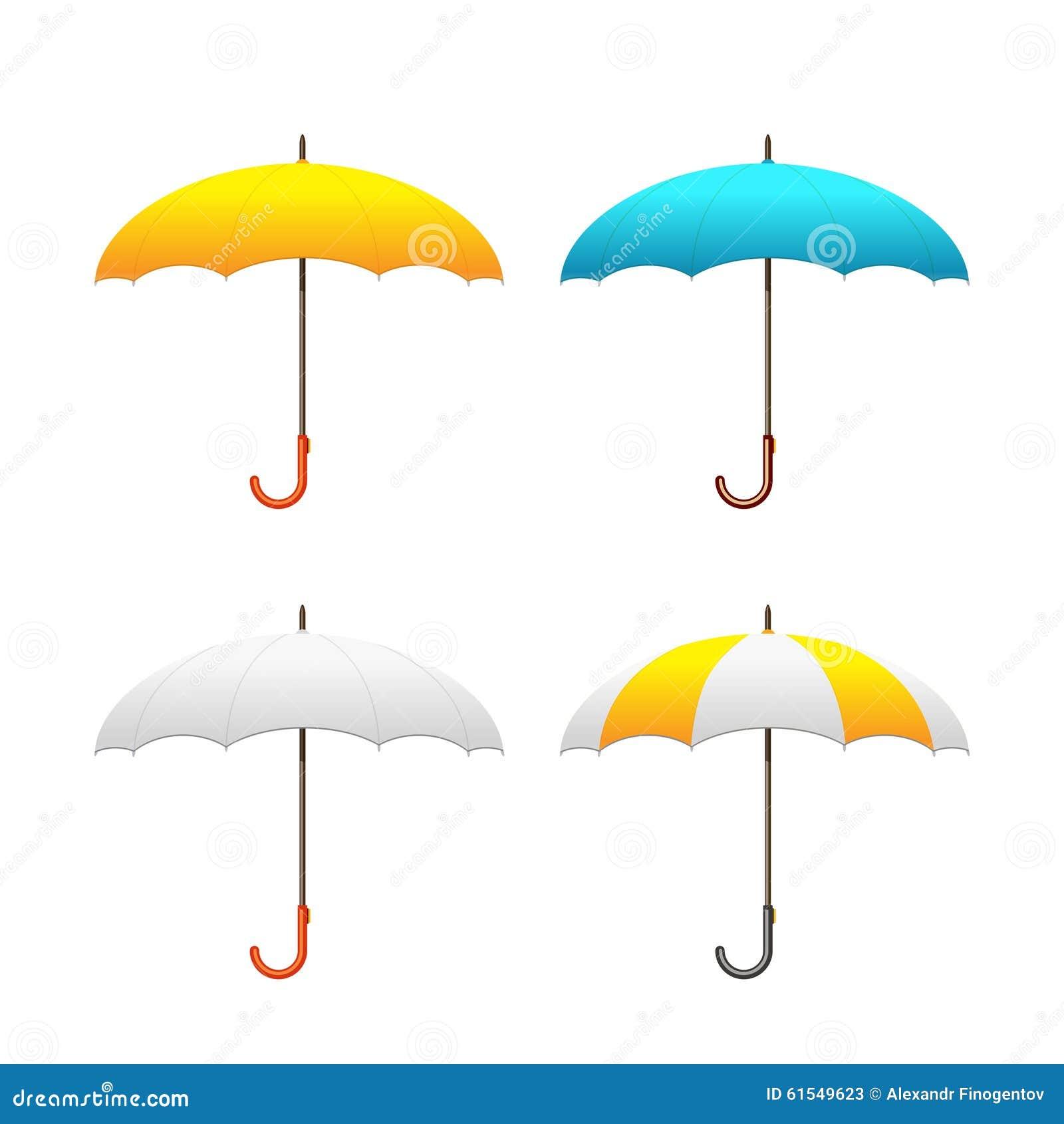 Set Of Colorful Umbrellas, Vector Illustration Cartoon ...