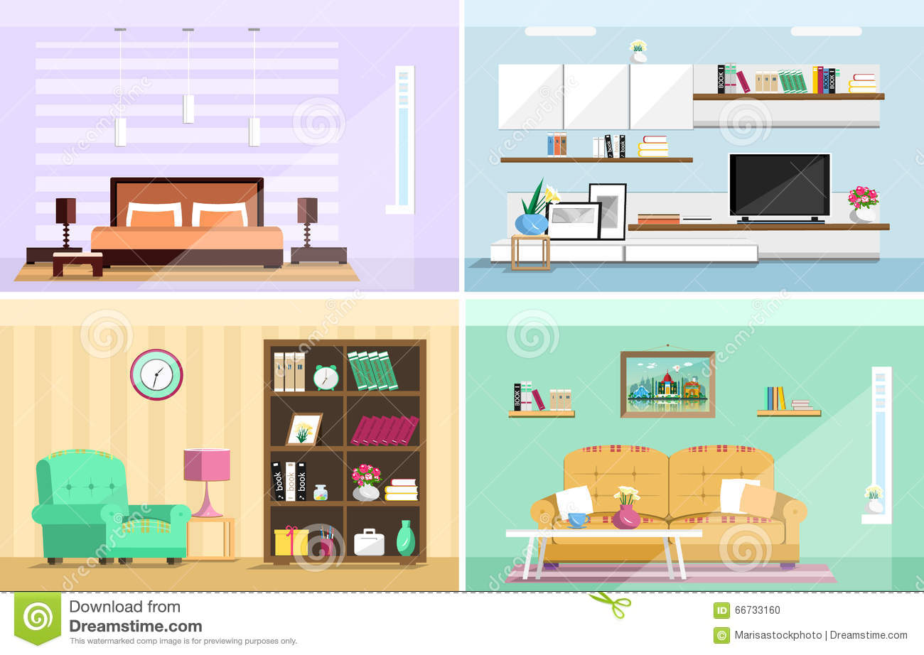 Set of colorful vector interior design house rooms with for Living room y sus partes