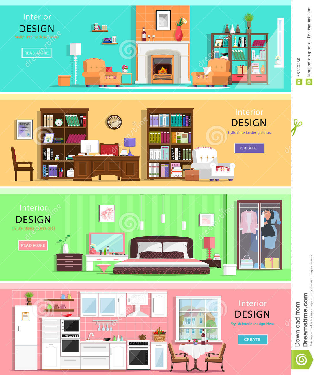 Set of colorful vector interior design house rooms with furniture icons living room bedroom - Decorate a house online ...