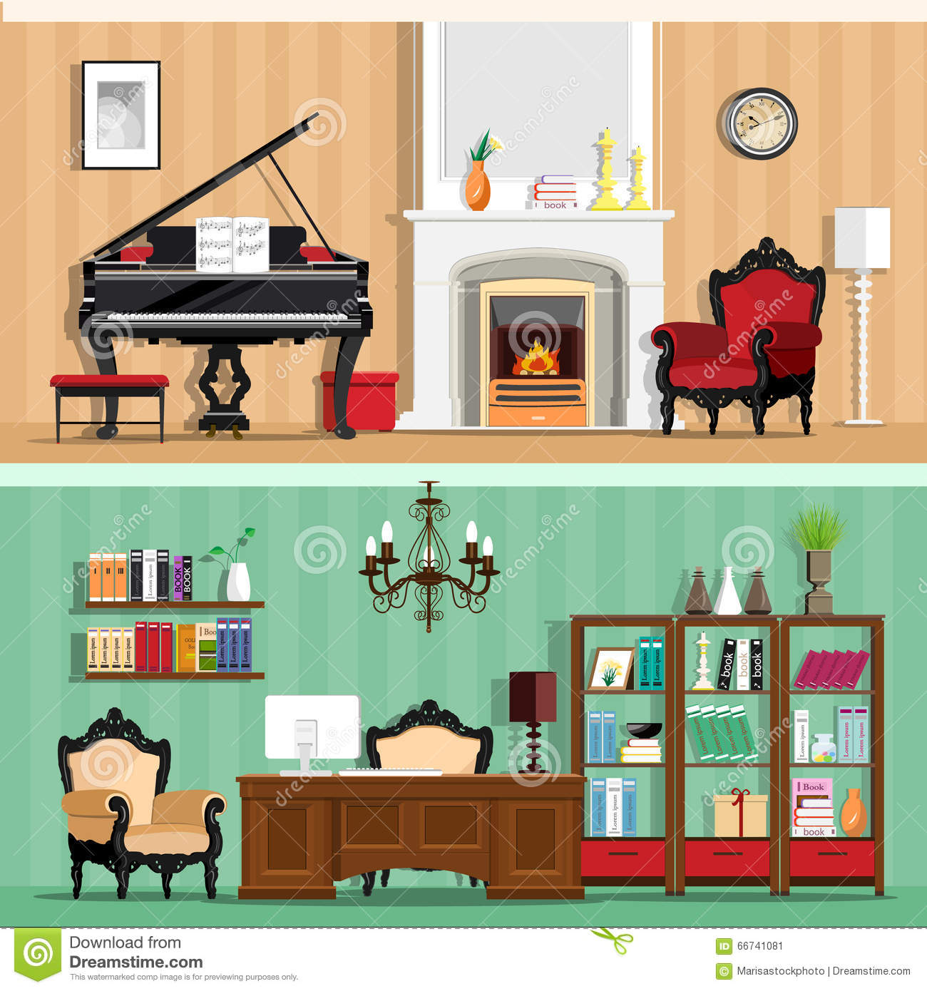 Colorful Book Room: Set Of Colorful Vector Interior Design House Rooms With