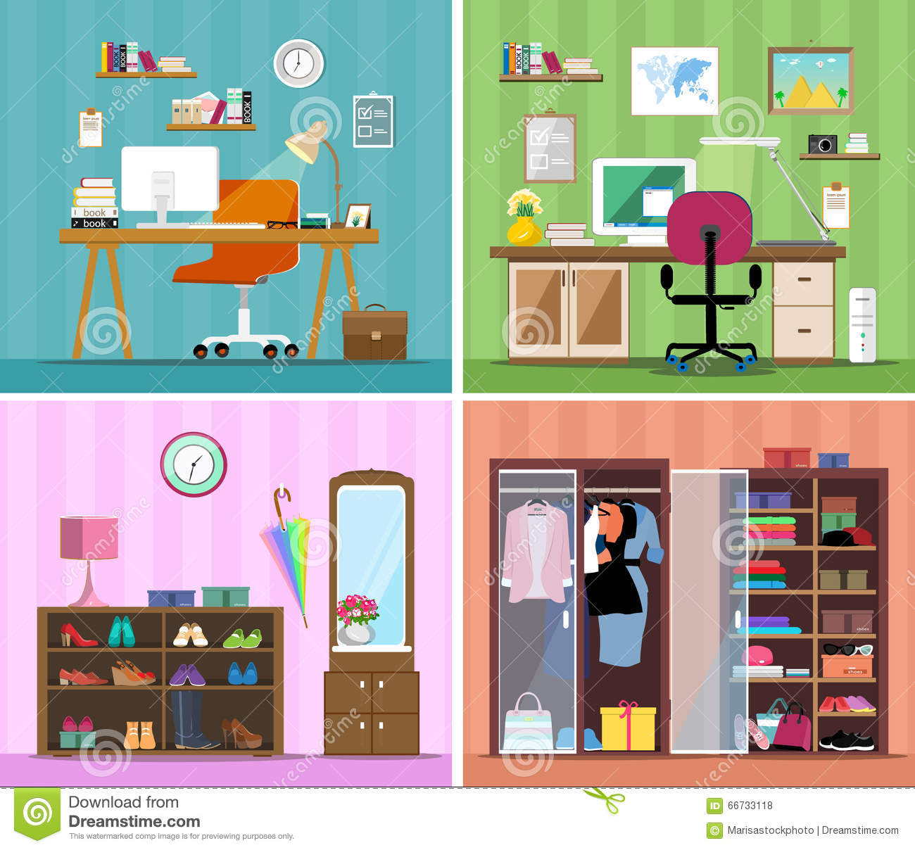 No Rooms Colorful Furniture: Set Of Colorful Vector Interior Design House Rooms With