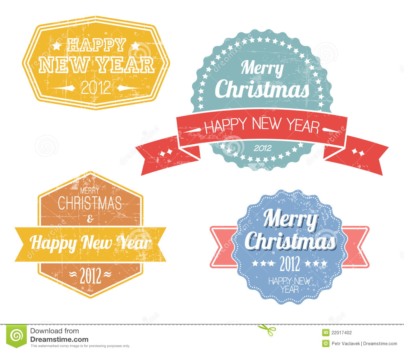 Retro Vintage Merry Christmas Labels Royalty Free Stock Photo ...