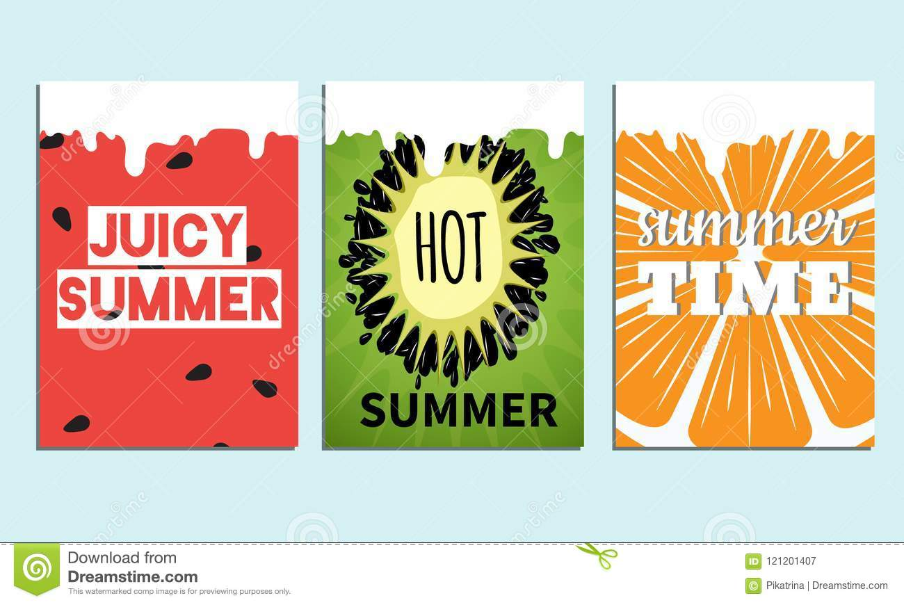 set of colorfull summer posters with ftuits backround vector