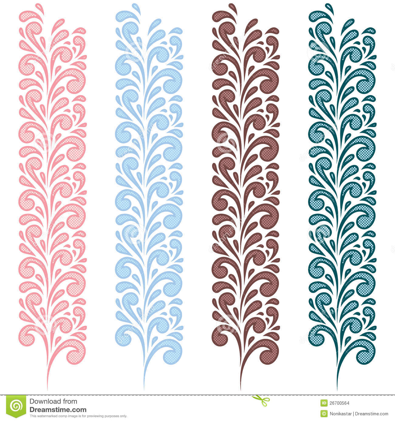 set of colour swirling seamless borders stock vector