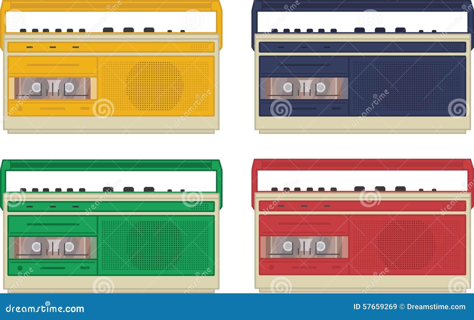 Set 4 colourful rocznika taśmy retro pisaka