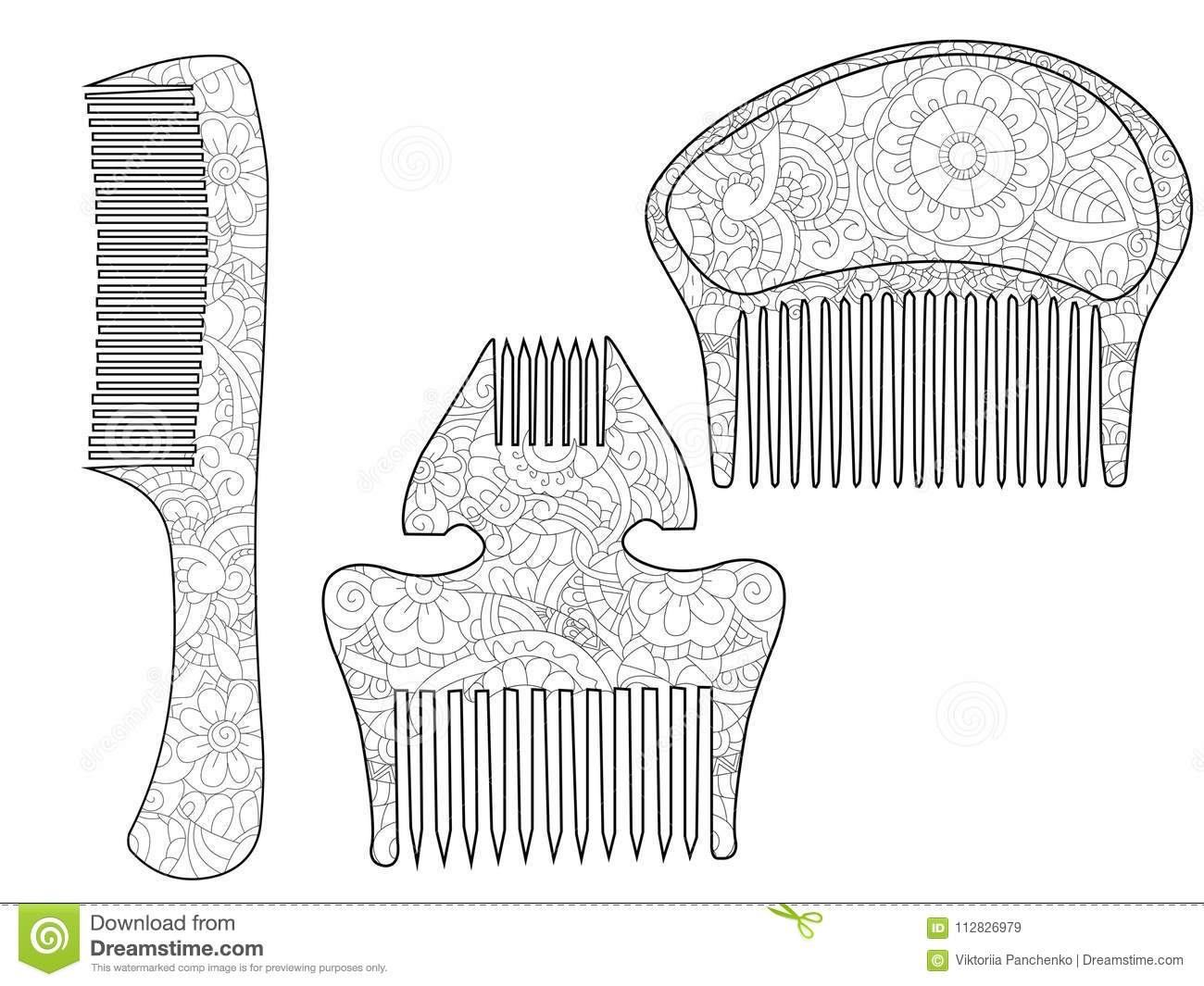 Set Comb For The Hair Coloring Book For Adult Antistress Coloring