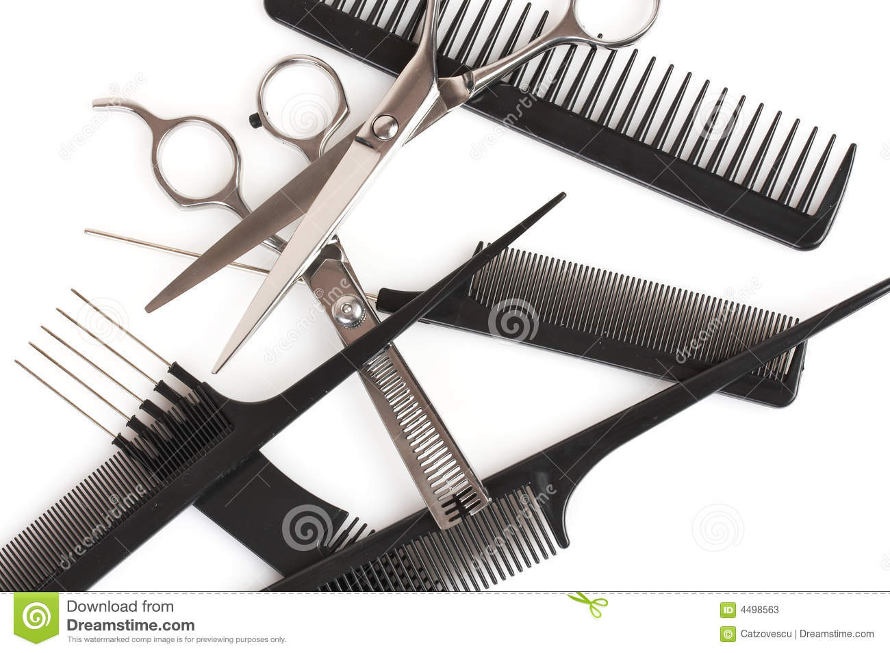 Set Of Combs And Scissors, Hairstyle Accessories Stock Image - Image ...