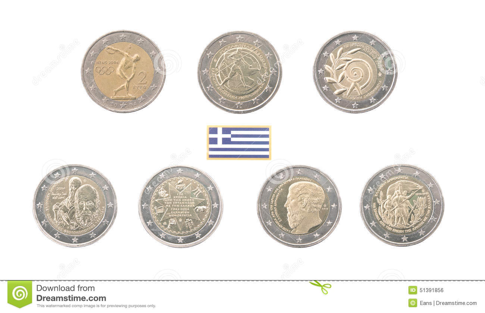 Set of commemorative 2 euro coins of greece stock photo - Stock piastrelle 2 euro ...