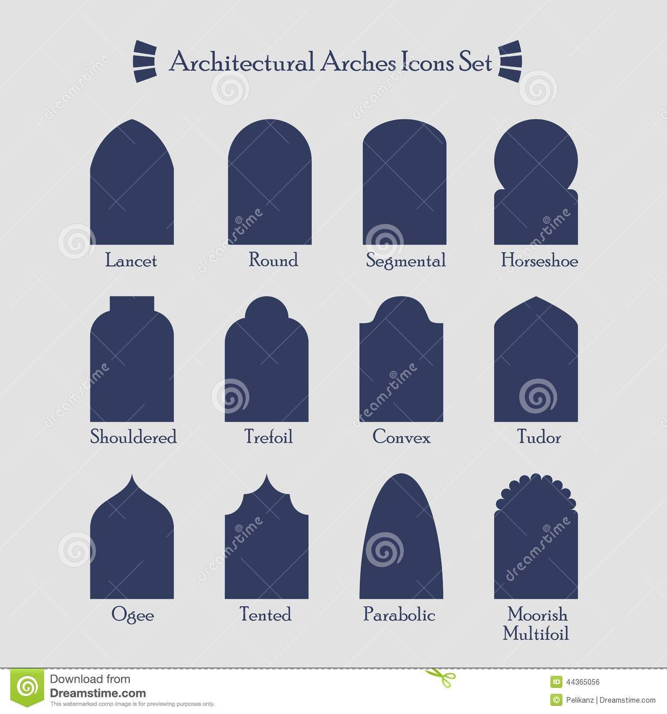 Set of common architectural silhouette arches icon stock for Common architectural styles