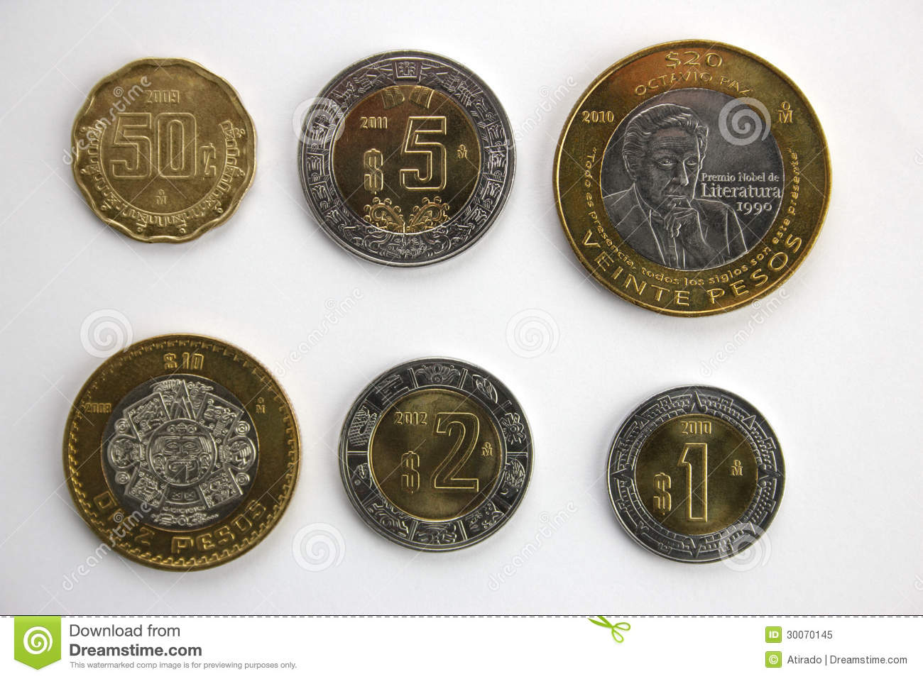 Set Of Mexican Coins. Royalty Free Stock Photo - Image: 30070145