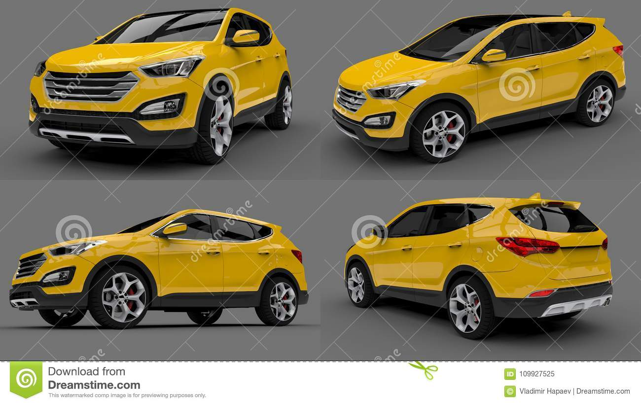 set compact city crossover yellow color on a gray background 3d rendering stock illustration illustration of rendering automotive 109927525 dreamstime com