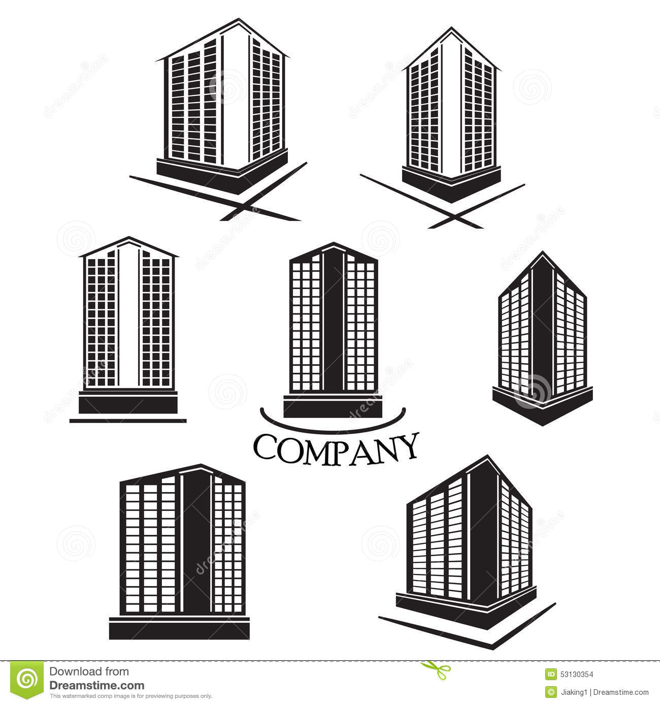 Set Of Company Building Vector Logo And Icon Stock Vector
