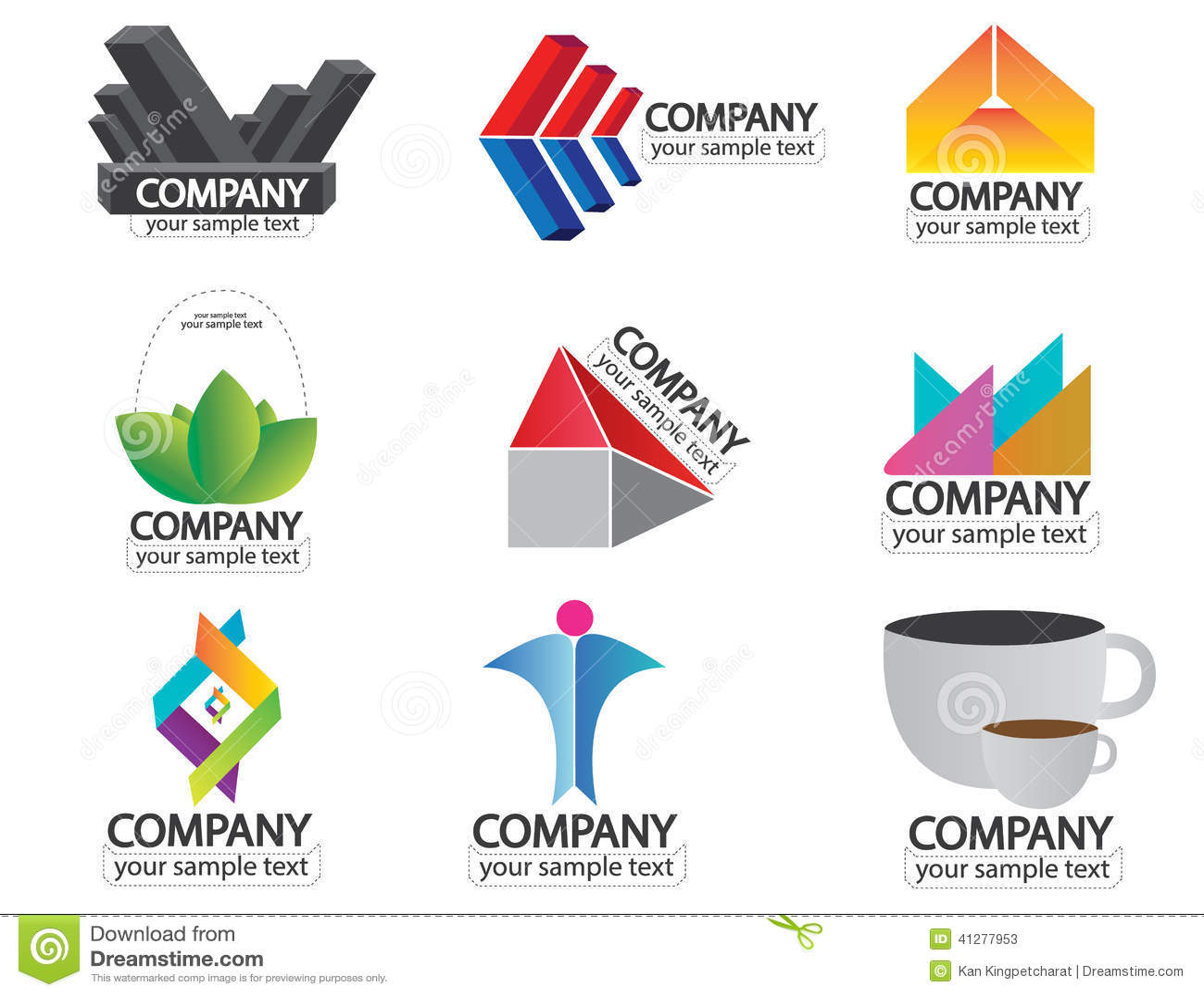 Set Of Company Name Logo Vector Stock Vector - Image: 41277953