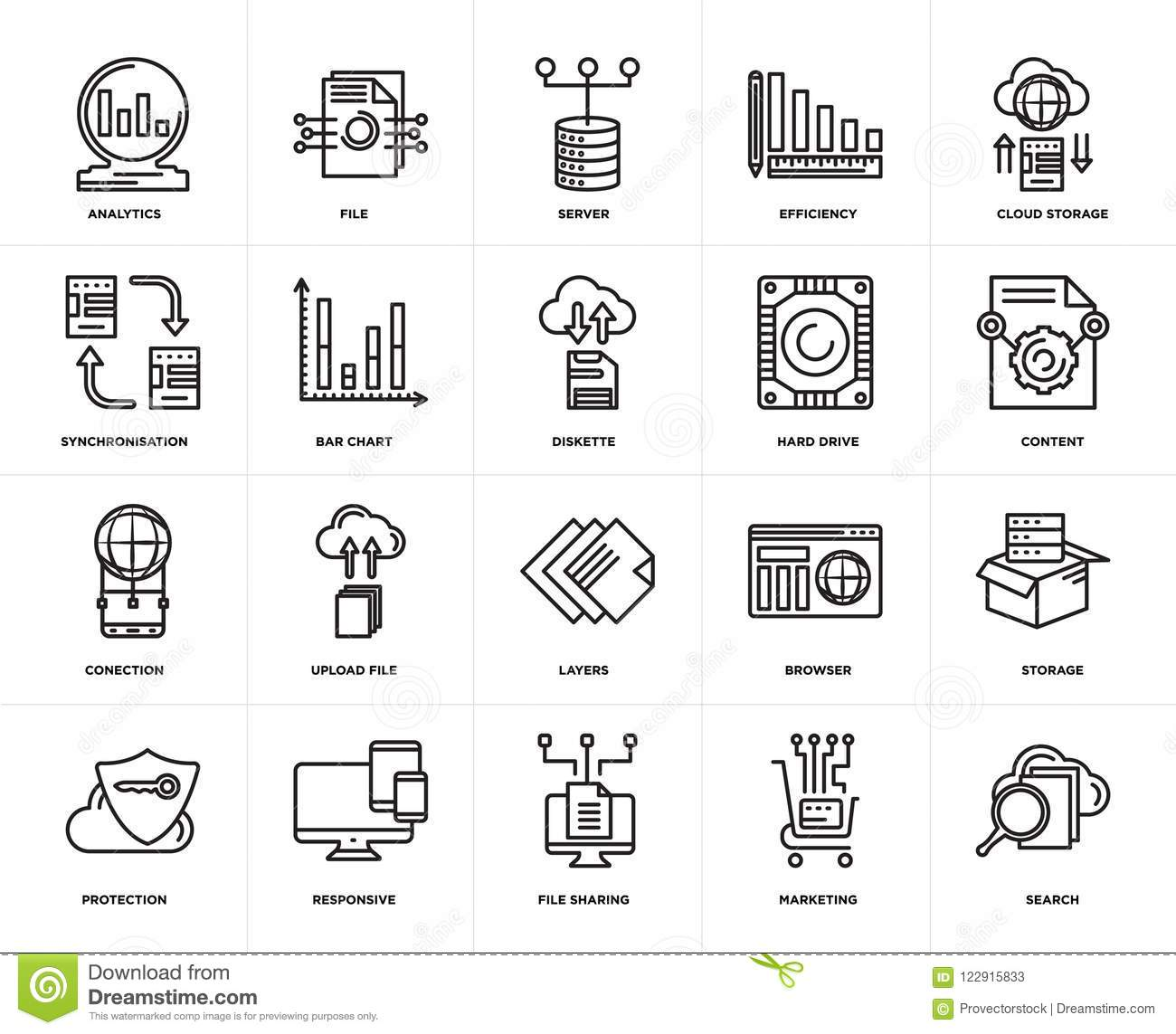 Set Of Conection, Search, Marketing, Responsive, Storage