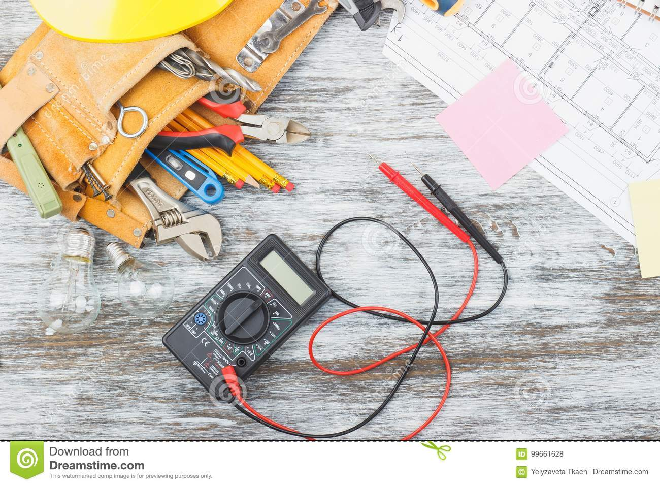 Set Of Construction Tools, Drawings And Multimeter Stock Photo ...