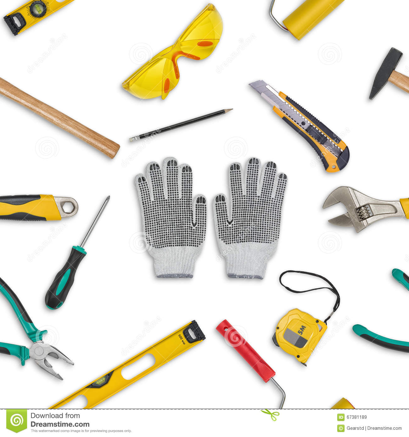 set of construction tools isolated on a white background level