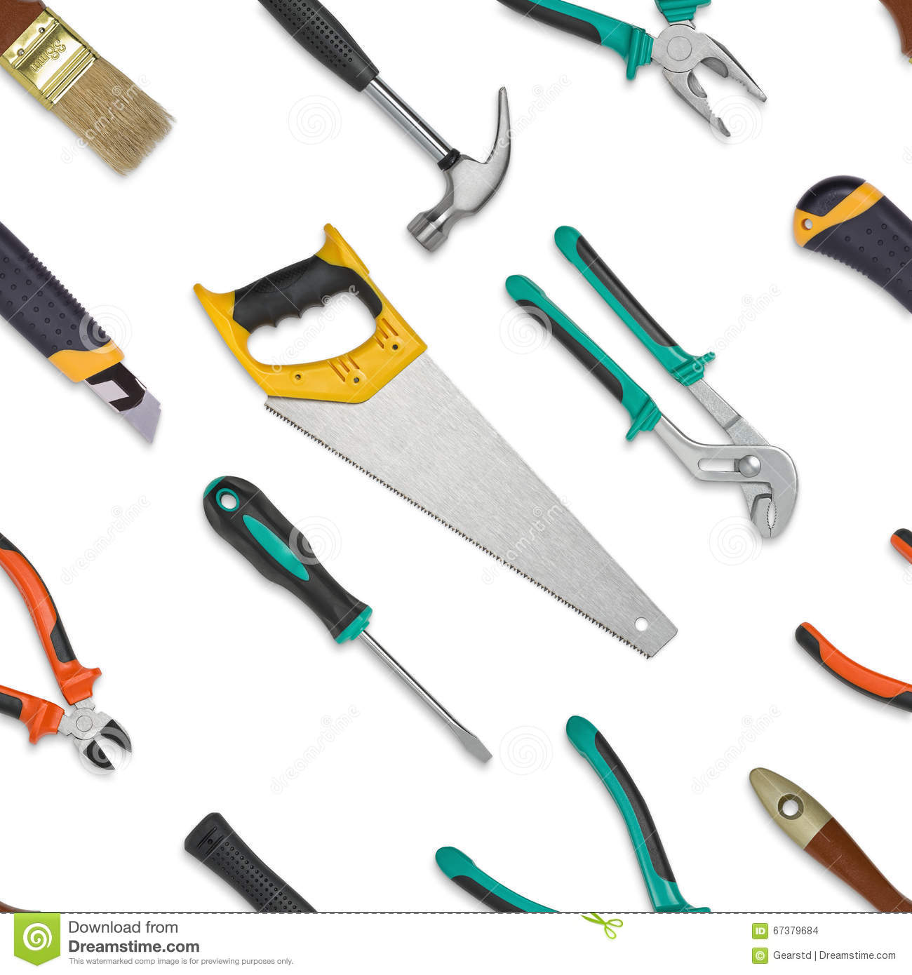 Set Of Construction Tools Isolated On A White Background