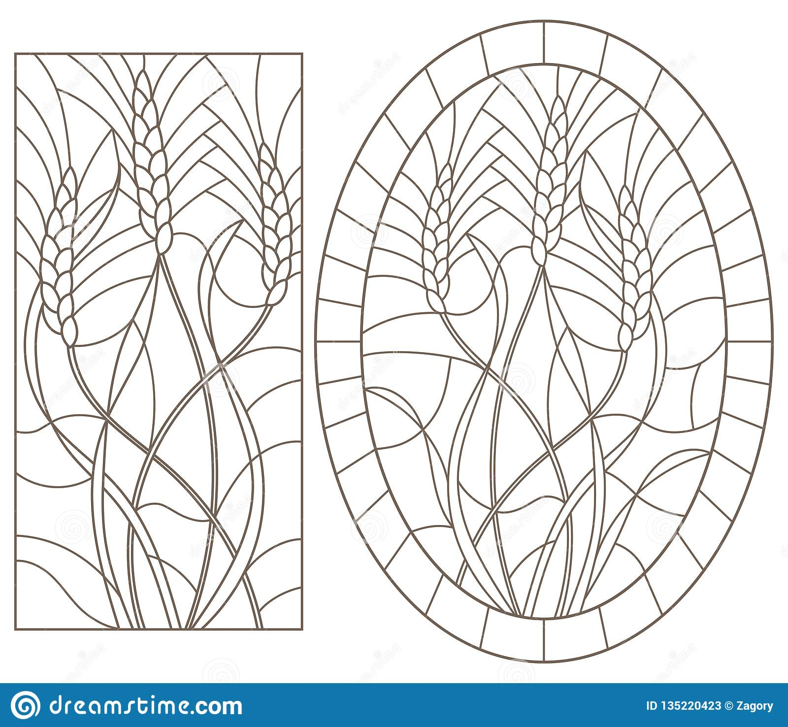 Contour set with illustrations of stained glass with wheat germ, oval and rectangular image, dark contours on a white background