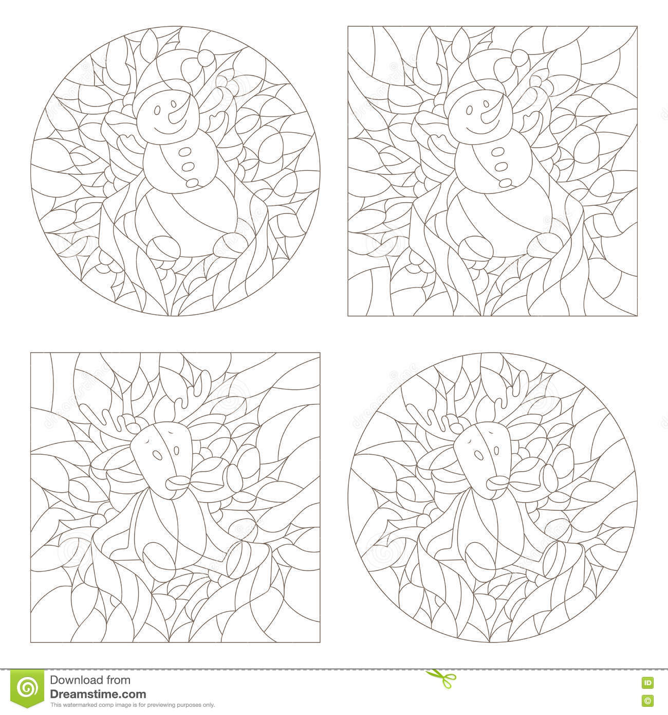 set contour stained glass illustrations windows on the theme of new year and christmasplush