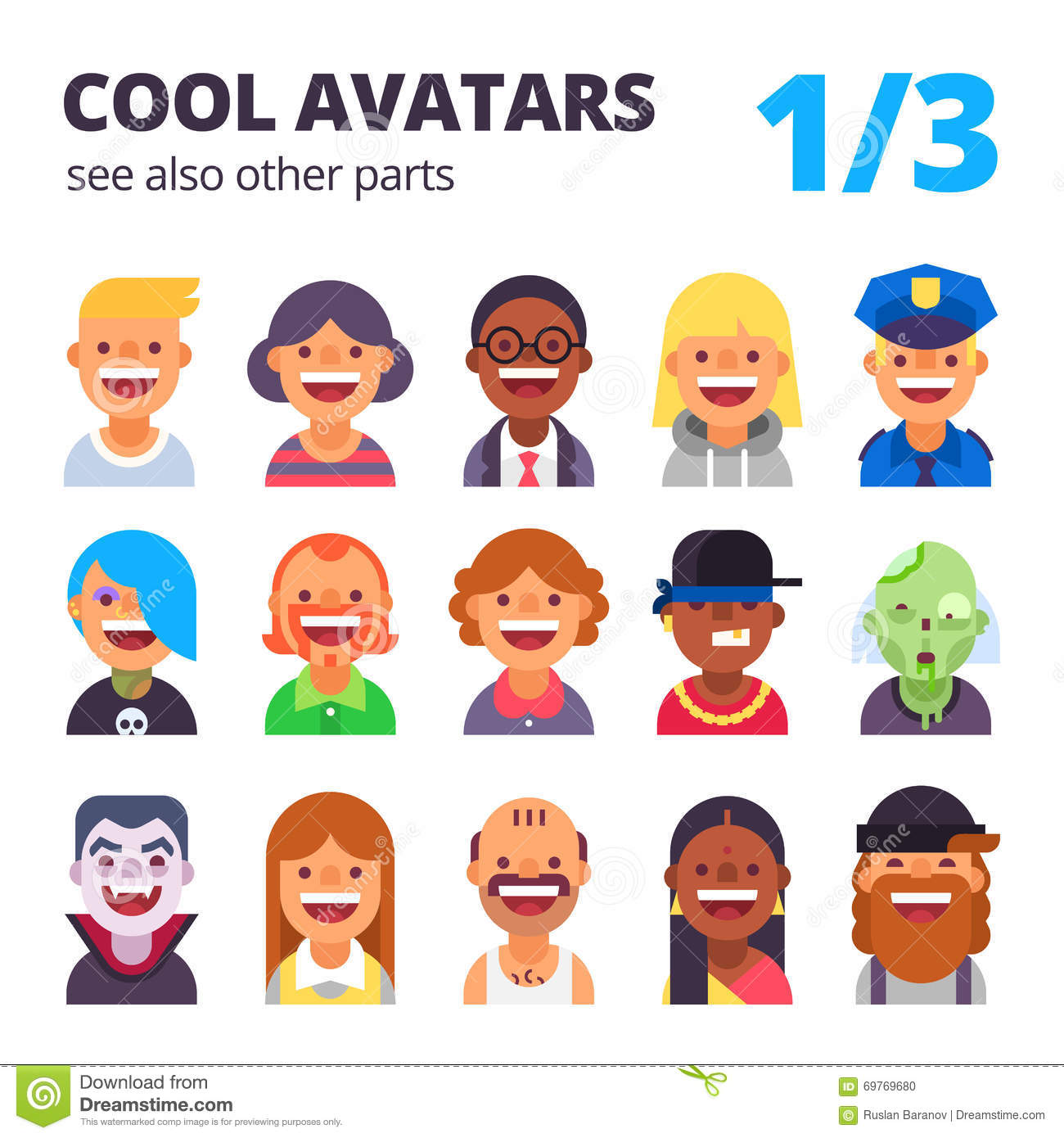 Cool Avatars: Set Of Cool Flat Avatars. Stock Vector. Image Of Person