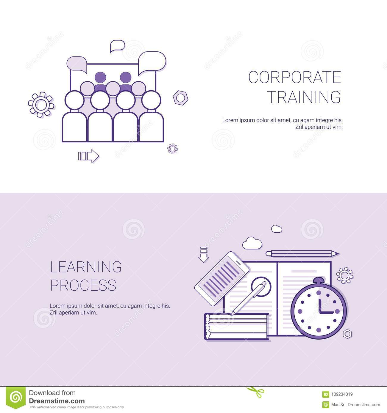 set of corporate training and learning process banners business