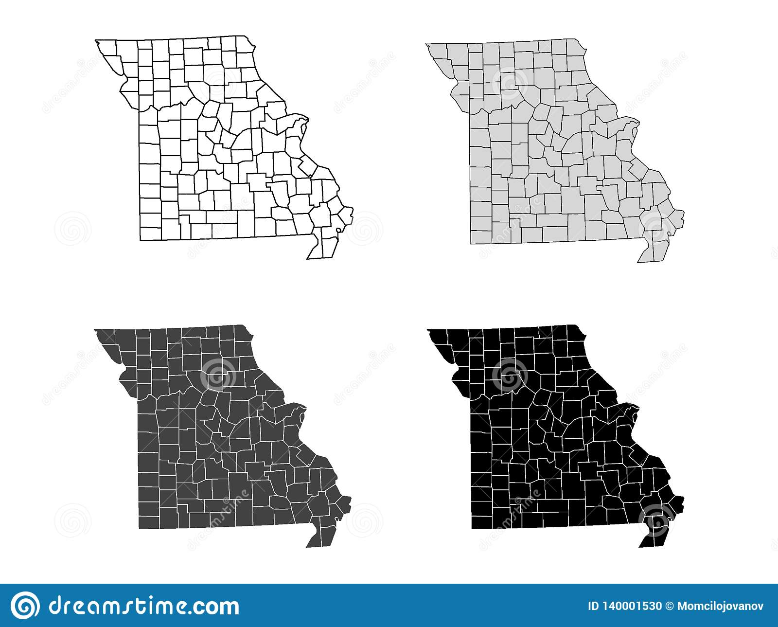 Set Of Counties Maps Of US State Of Missouri Stock Vector ...