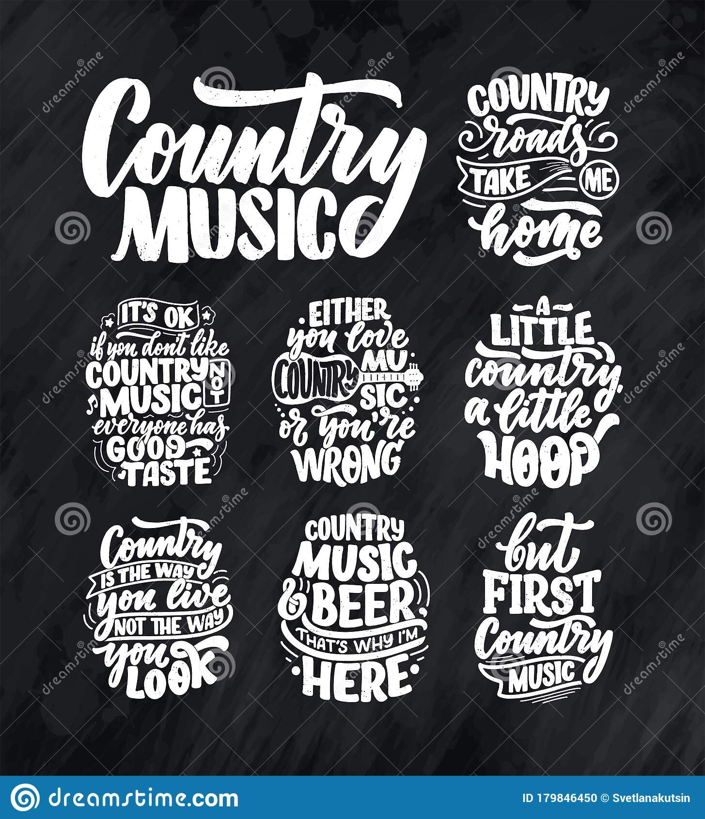 Set With Country Music Lettering Quotes For Festival Live Event Poster Concept Textured Illustration Funny Slogans For Cowboy Stock Illustration Illustration Of Black Modern 179846450
