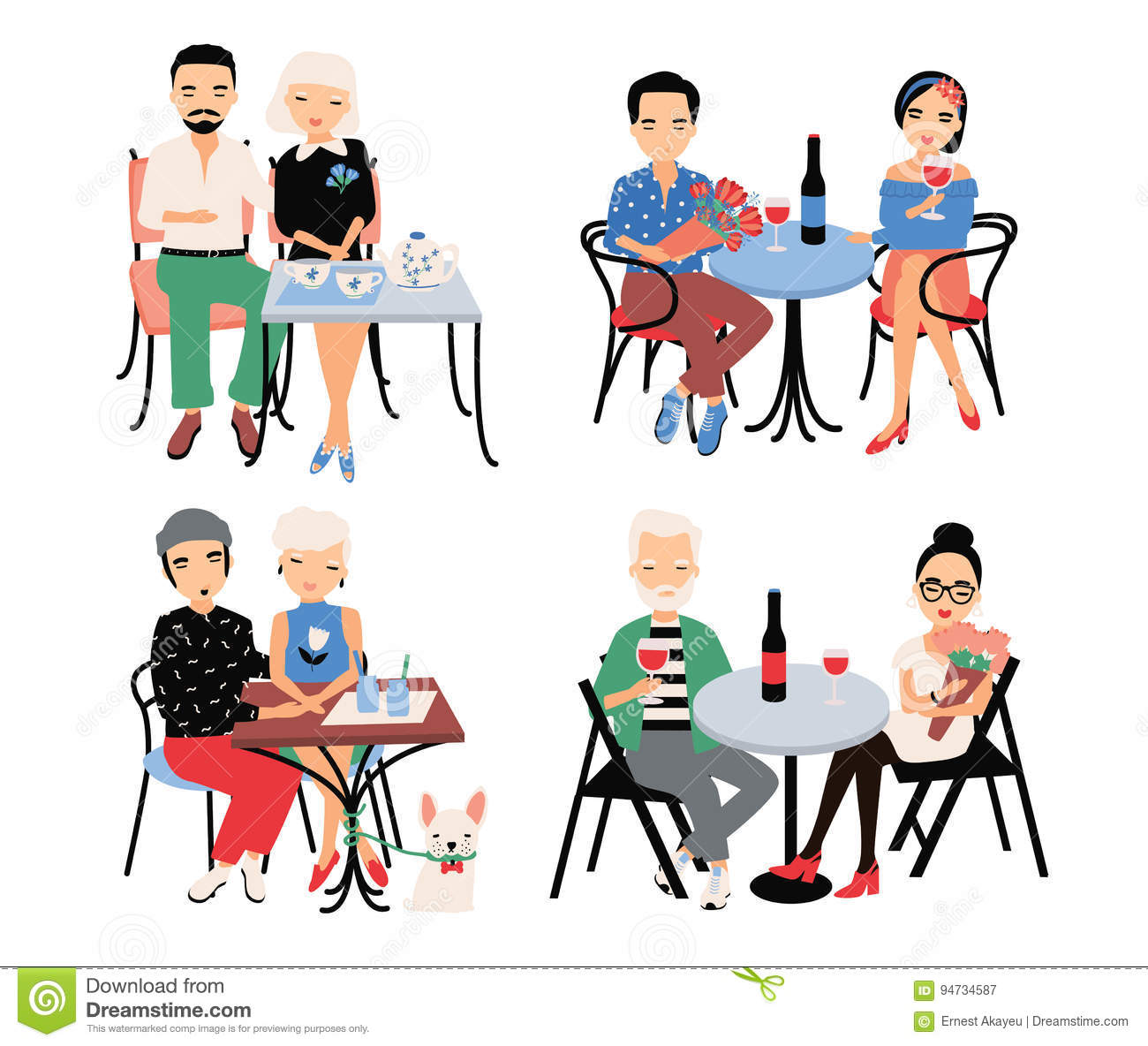 Set of couples on romantic date. Young trendy lovers at table in cafe. Guy and girl sit in embrace, hold hands, drink
