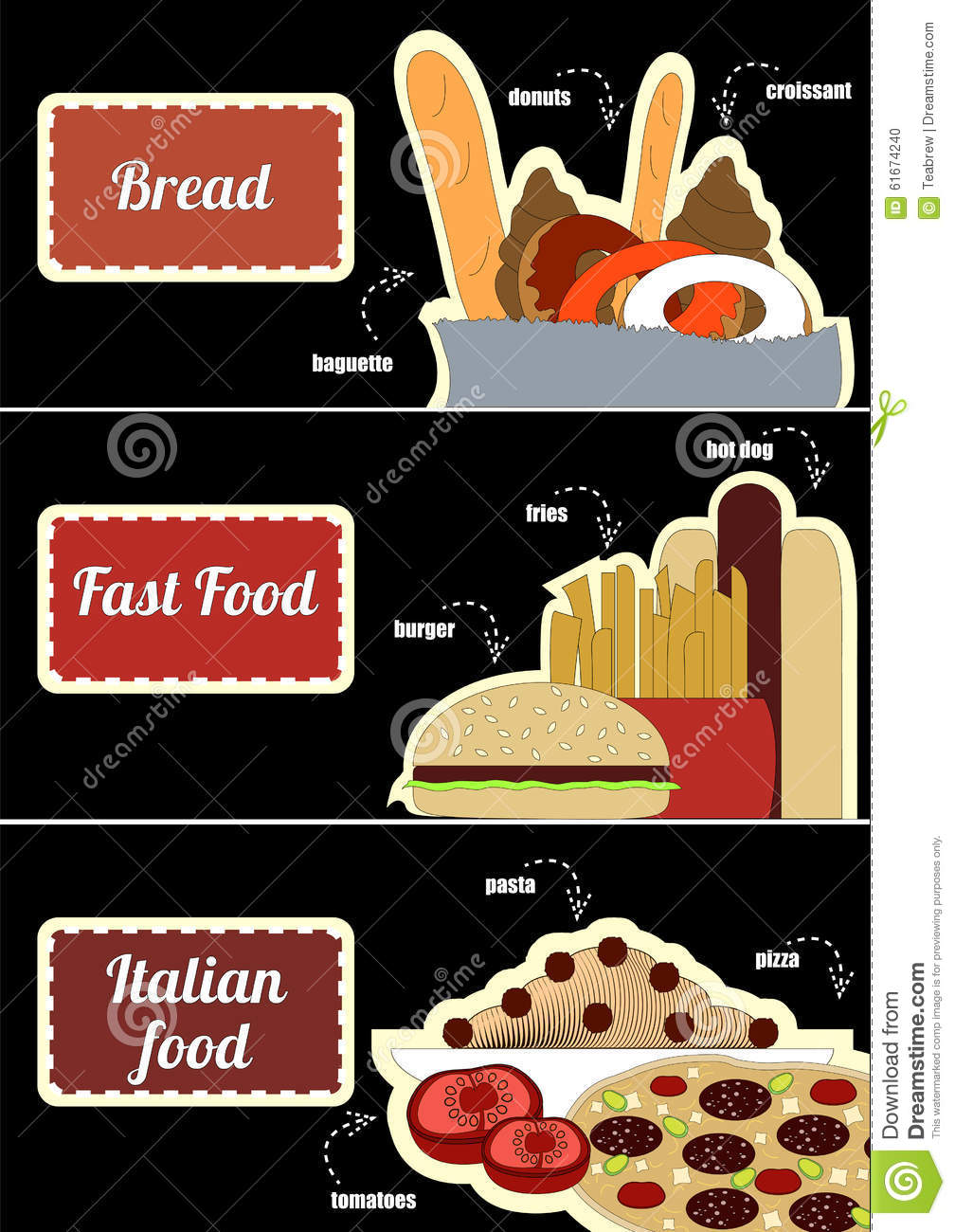 Set of coupons with pictures of food stock vector image for 3 pieces cuisine