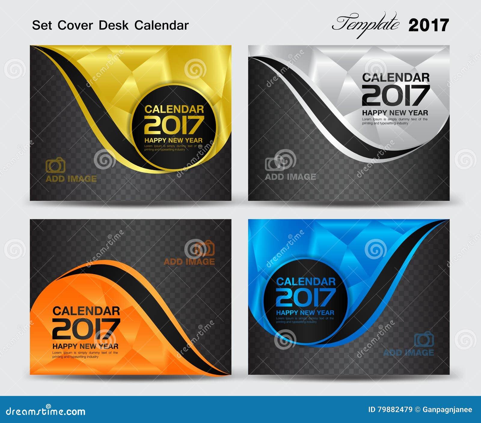 Calendar Cover : Set cover desk calendar year template design
