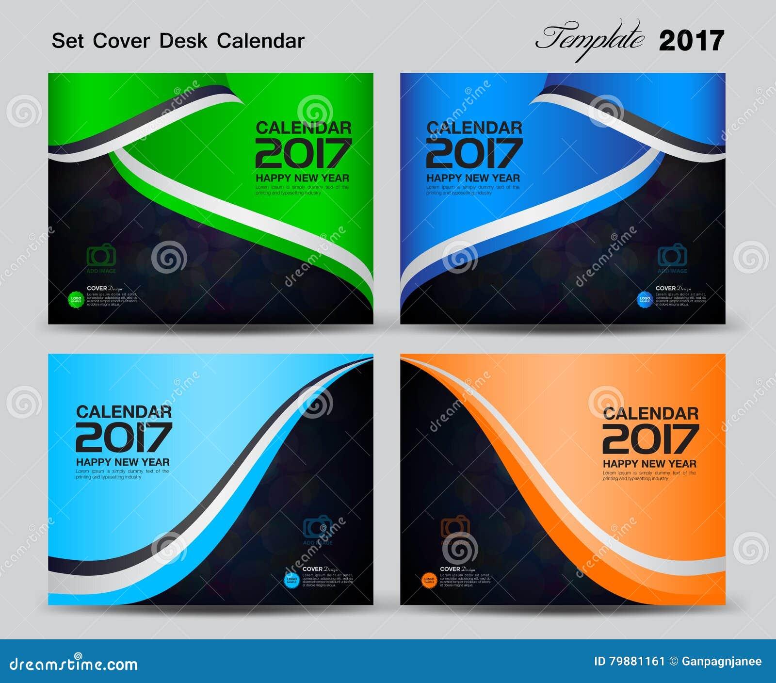 Cover Calendar Design Vector : Set cover desk calendar year template design