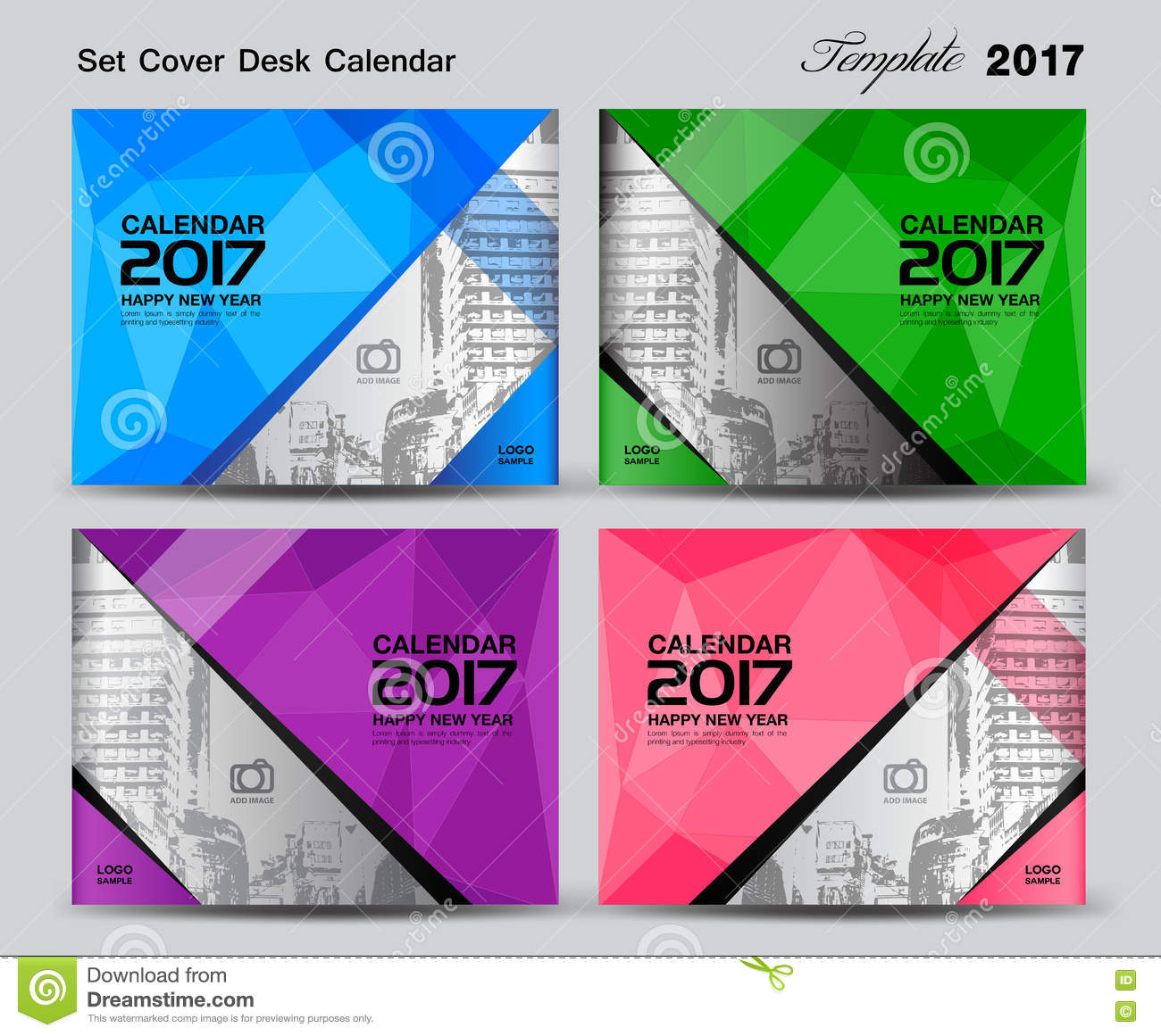 Set Cover Desk Calendar 2017 Year Template Design, Cover Design ...