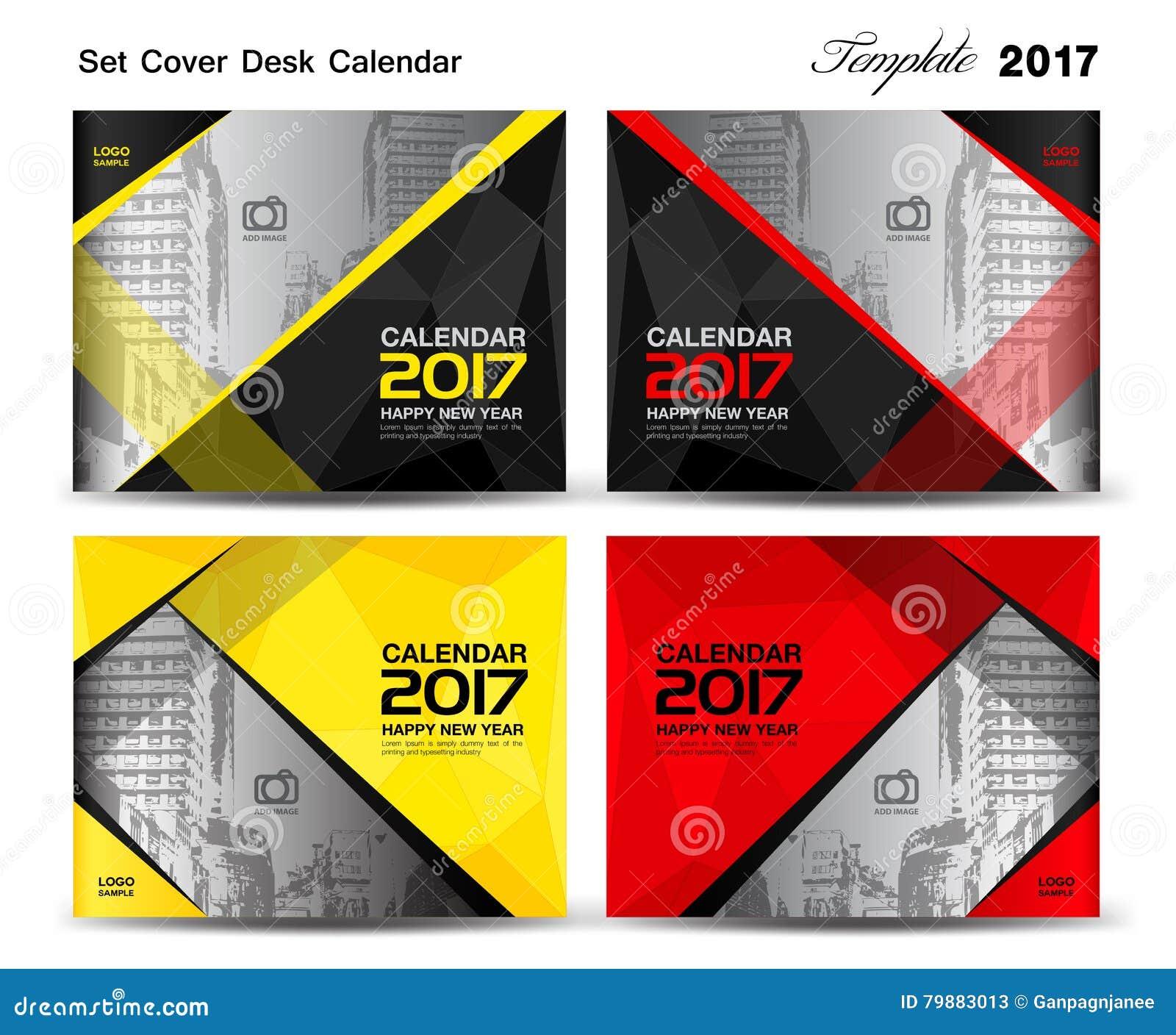 Year Calendar Design : Set cover desk calendar year template design