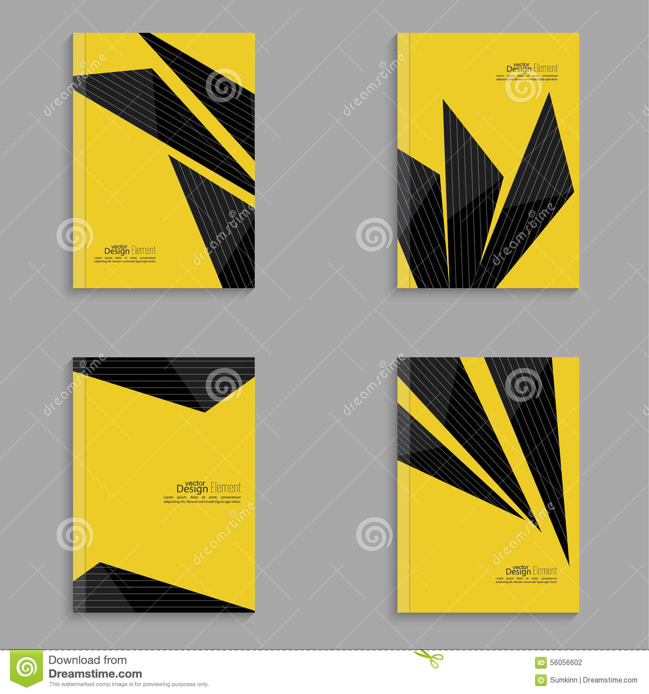Set Covers For Magazine Of Black Stripes Stock Vector