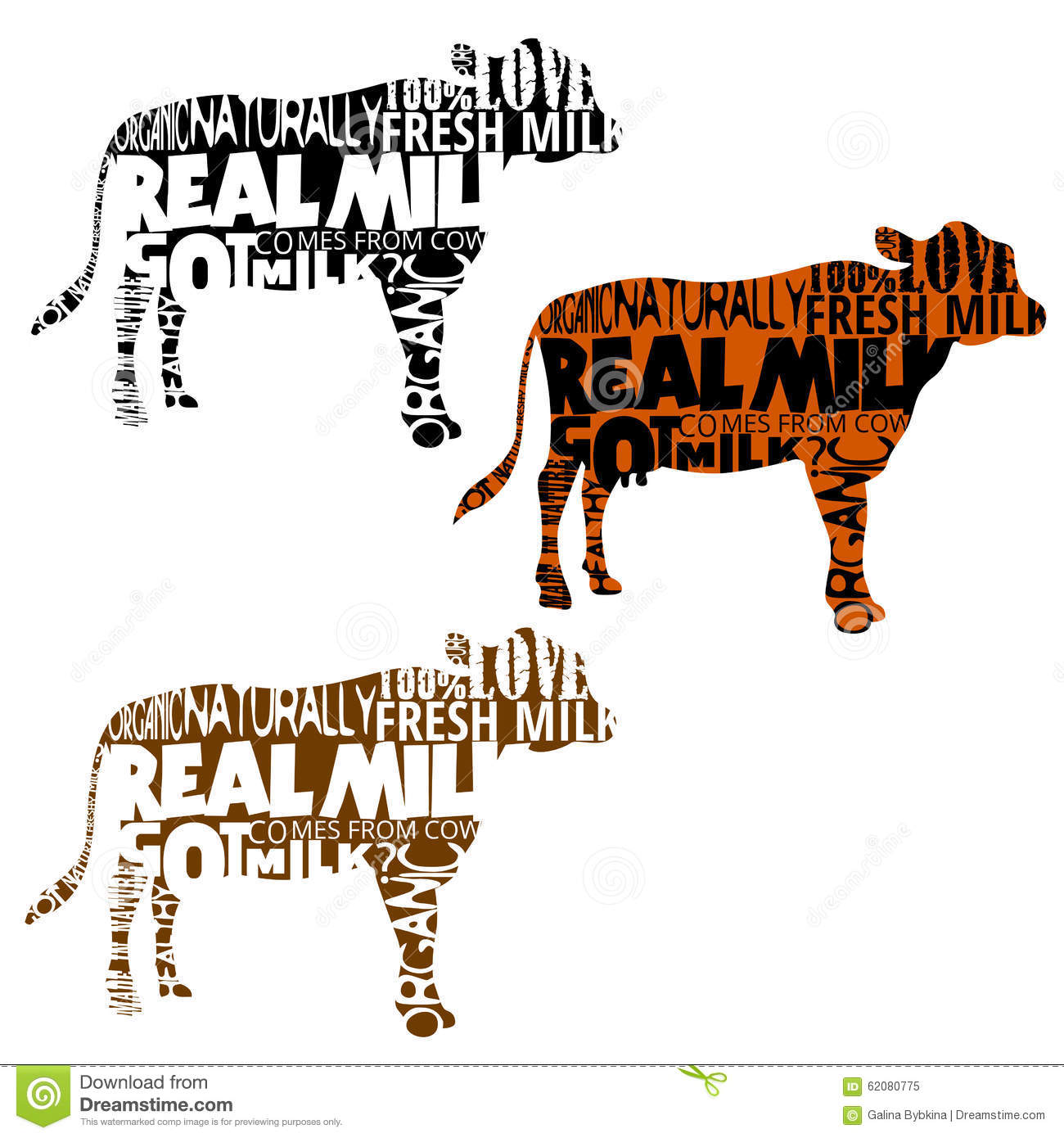 Set Of Cow Silhouettes With Words In Shape Stock Vector
