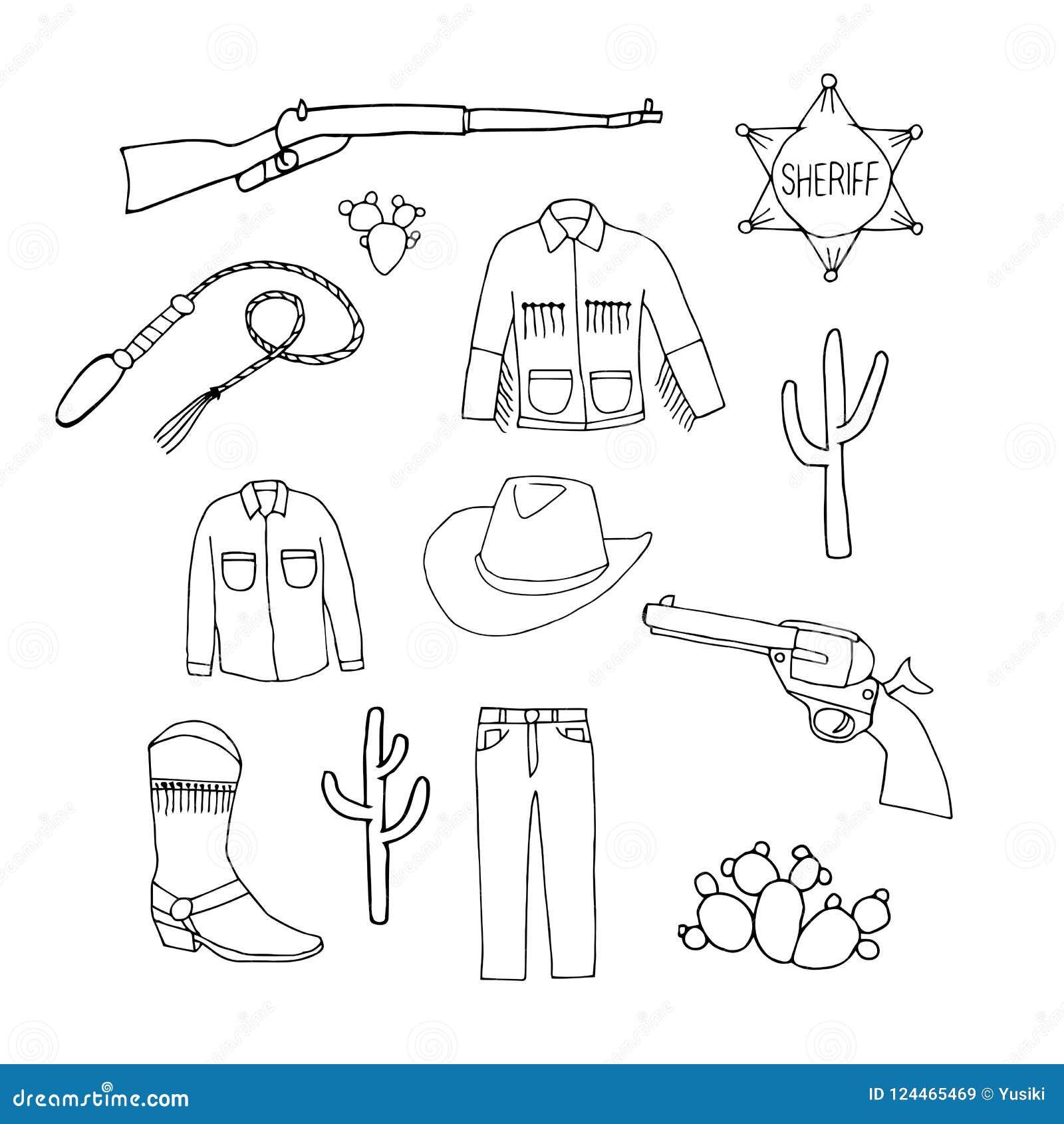Set of cowboy symbols. Cowboy jeans, shirt, jacket, hat, boots