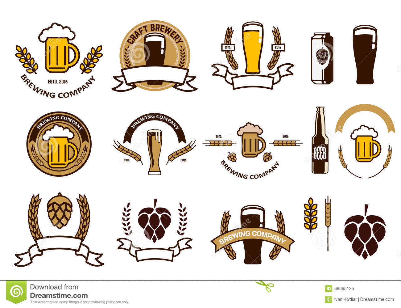 Set Of Craft Beer Emblems And Logo Templates Stock Vector ...