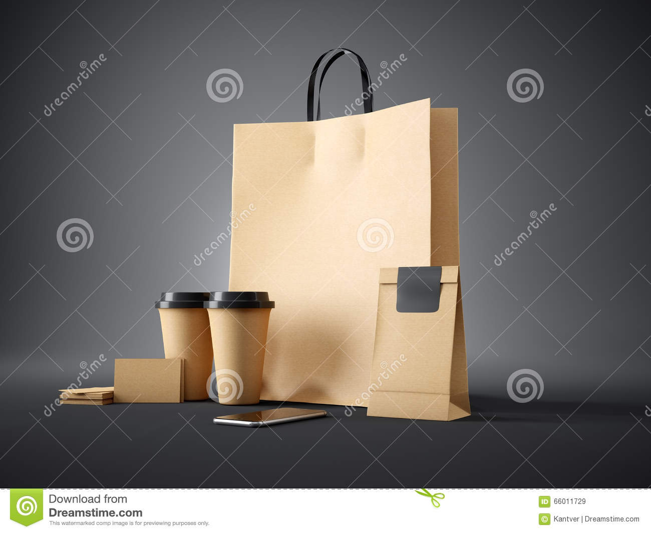 Set of craft shopping bag take away cups paper package blank set of craft shopping bag craft take away cups craft package blank business cards and generic design smartphone dark background colourmoves