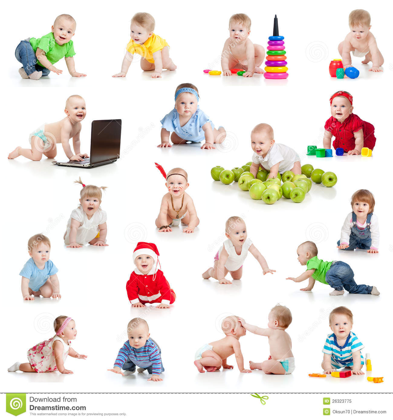 Set of crawling babies or toddlers with toys